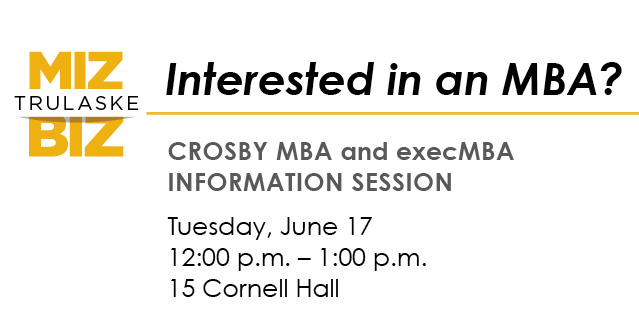 Informational session for Crosby MBA and execMBA on June 17th